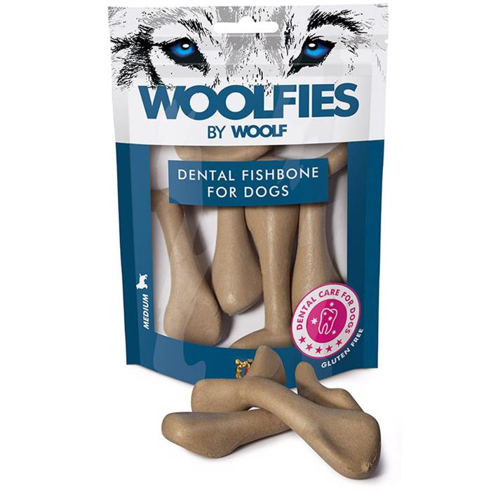 Woolfies by Woolf Dental Fishbone MEDIUM Hundens Snack Tandbørste