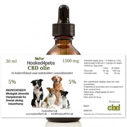 CBD Olie Drop til Hund 1500mg 30ml På 5 Procent
