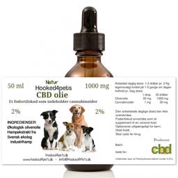 CBD Olie Drop til Hund 1000mg 50ml På 2 Procent