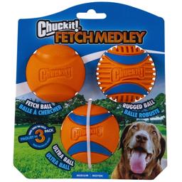 Chuckit Fetch Medley ORANGE 3Generation 3Pack Orange Bolde