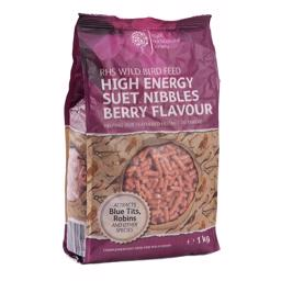 RHS Wild Bird Feed Suet Nibbles Berry Flavour 1kg