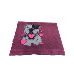 Vet Bed Extra Soft Purple Head And Heart Staffordshire Bull Terrier